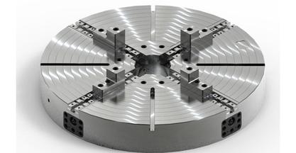 Plato de 2000 mm de diámetro de 4 garras con husillos multiplicadores de TALLERES DE GUERNICA en la EMO de Milán - Hall 1, stand C31