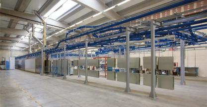 Completa instalación de GEINSA para pintado de piezas de acero